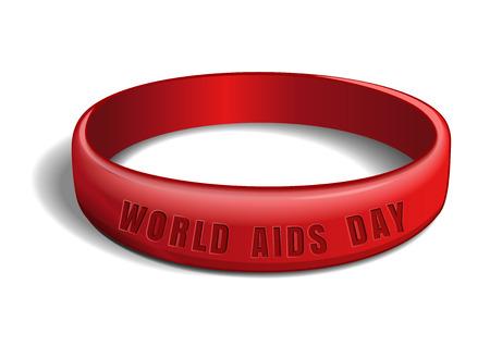 Wereld AIDS-dag ontwerp. Rode plastic armband met een inscriptie - Wereld Aidsdag. Vectorillustratie geïsoleerd op witte achtergrond