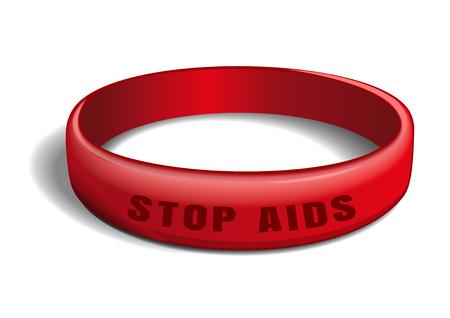 Wereld AIDS-dag ontwerp. Rode plastic armband met een inscriptie - Stop AIDS. Vectorillustratie geïsoleerd op witte achtergrond