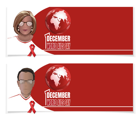 World AIDS Day banner set. 1 December. Man and woman with red ribbons on chest. Vector illustration Ilustração