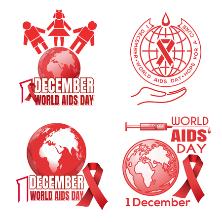 Banners collection for World AIDS Day. 1 December. World AIDS Day logo design set. Hope for a cure. Vector illustration