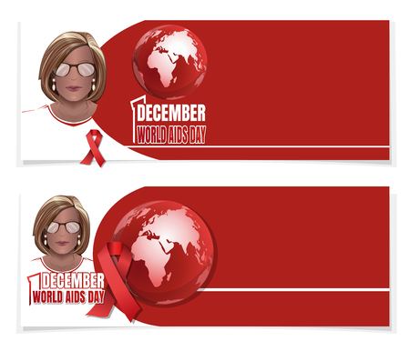 World AIDS Day banner set. 1 December. Woman with a red ribbon on his chest. Vector illustration