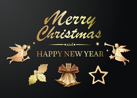 クリスマスと新年のためのエレガントなゴールド アイコン コレクション