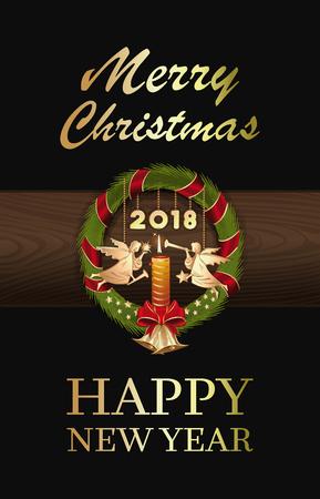 クリスマスの天使とジングルベルとクリスマスリース2018。メリークリスマスと新年おめでとうベクトルイラスト