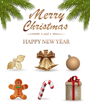 Realistic icons set for Christmas and New Year. Vector illustration isolated on white background Illustration