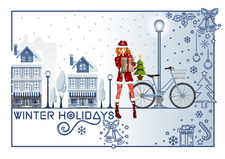 Greeting card for the winter holidays. Girl with bike on a winter snow-covered street. Christmas design. Vector illustration