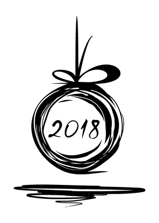 New Year 2018. Christmas doodle design. Sloppily painted Christmas ball on a white background. Vector illustration Illustration