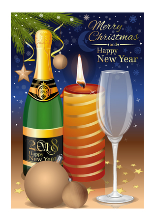 New Years Eve 2018. Festive New Years table with a burning candle and champagne. Vector illustration Çizim