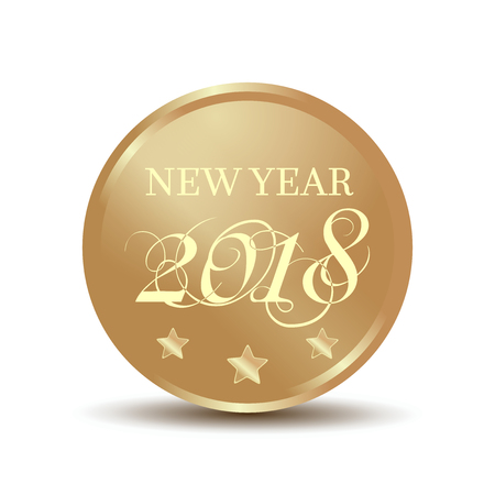 Gold coin with an inscription - New Year 2018. Vector illustration isolated on white background