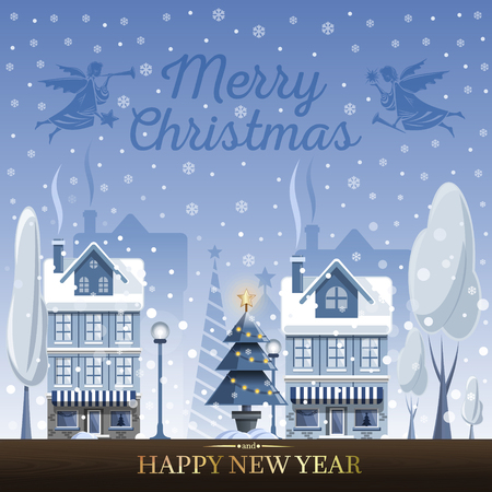 Winter landscape. Christmas greeting card with Christmas angels and fairy tale houses. Snowy town at holiday eve. Merry Christmas and Happy New Year. Vector illustration