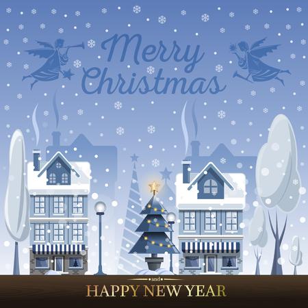 冬の風景。クリスマスの天使とおとぎ話の家とクリスマスのグリーティングカード。休日の前夜に雪の町。メリークリスマスと新年おめでとうベク  イラスト・ベクター素材