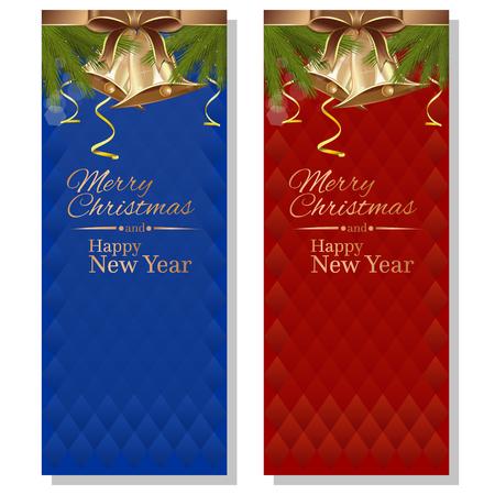 Disegno di natale. Sfondi natalizi rossi e blu con rami di abete, nastri, fiocchi, campane d'oro e iscrizione di saluto. Buon Natale e Felice Anno nuovo. Illustrazione vettoriale
