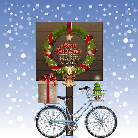 Christmas wenskaart. Kerstkrans, winterfiets, geschenkdoos, gouden belletjes, gedecoreerde kerstboom, ilex, sneeuw. Groeten - Vrolijk kerstfeest en een gelukkig nieuwjaar. Vector illustratie Vector Illustratie