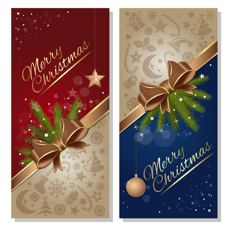 Christmas greeting card set. Festive red and blue background with gold ribbon and bow. Design elements for Christmas and New Year. Vector flyer template