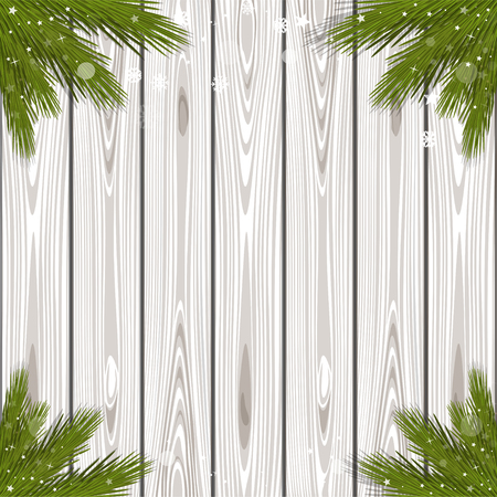 Black and white wooden background with branches of spruce for Christmas and New Year. Winter design. Vector illustration