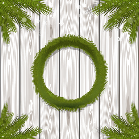 Fir wreath and spruce branches on a wooden background. Design elements for Christmas and New Year. Vector illustration