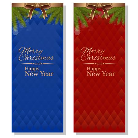 Ambiti di provenienza christmassy di vettore astratto rosso e blu con nastri, fiocchi e rami di abete. Buon Natale e un Felice Anno Nuovo