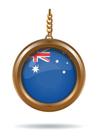 Gold medallion on a chain with the flag of Australia inside. National Flag of Australia. Vector illustration isolated on white background Çizim