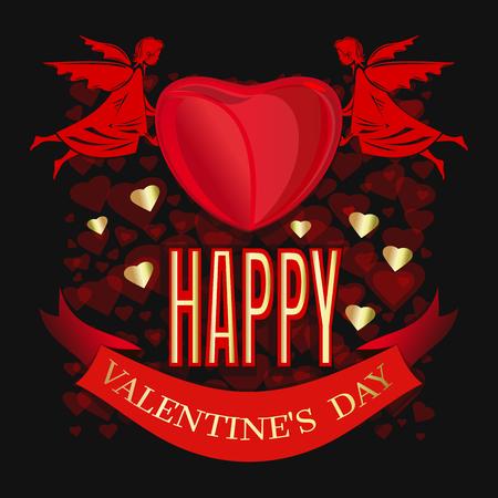 天使のペアは大きな赤い心を持っています。バレンタインデーおめでとう赤い心の背景に挨拶の碑文。バレンタインデーのグリーティングカード。