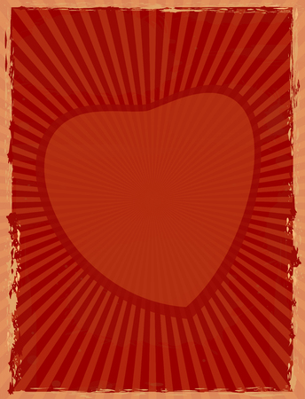 Vintage background with sun rays radiating from the heart. Red retro background with heart. Vector grunge background for your design