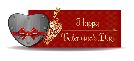 Iron heart tied with red ribbon on the background of a greeting card. Gold greeting inscription on an abstract red background. Happy Valentines Day. Vector Valentines Day banner