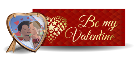Photo in the frame on the background of a greeting card. Be my Valentine. Couples in love. Boy and girl kissing. Vector Valentines Day card