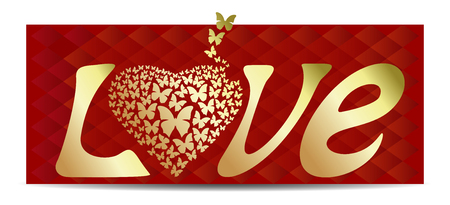 Love. In the word LOVE letter O replaced with heart. Gold heart on a red abstract background. Romantic background for Valentines Day. Vector word - LOVE