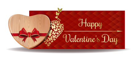 Wooden heart tied with red ribbon on the background of a greeting card. Happy Valentines Day design. Vector banner for Valentines Day Illustration