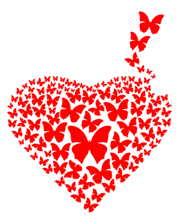 Heart consisting of red flying butterflies. Design element for romantic cards. Vector illustration Illustration