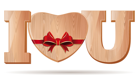 Wooden hearts for Valentines Day. Abbreviation - I love you. I L U. Wooden Heart tied with red ribbon. Vector illustration.
