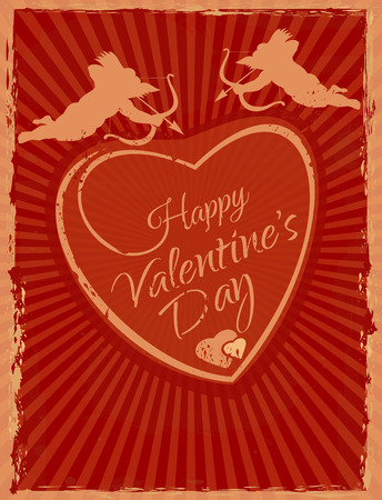 Happy Valentines Day Grunge style greeting card Banco de Imagens - 94388587