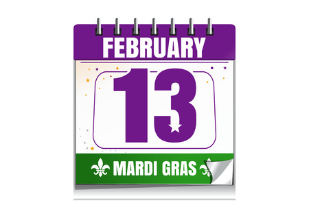 Mardi Gras calendar 2017. Holiday date in calendar. 13th of February. Mardi Gras also called Shrove Tuesday or Fat Tuesday. Vector illustration isolated on white background