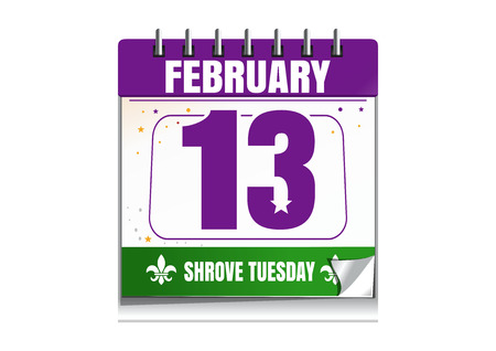 Shrove Tuesday calendar 2018. Holiday date in calendar. 13th of February. Mardi Gras also called Shrove Tuesday or Fat Tuesday. Vector illustration isolated on white background