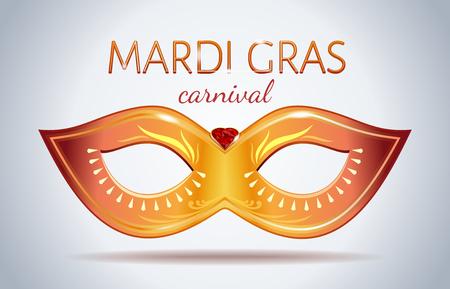 Mardi Gras festival design. Golden carnival mask with gems. Vector illustration