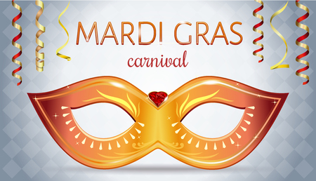 Mardi Gras festival design. Greeting card with golden carnival mask with gems for Carnival celebration Shrove Tuesday also called Mardi Gras. Illustration