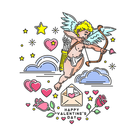 Romantic design with Cupid for Valentines Day. Valentines greeting card. Happy Valentine's Day. Cute cupid shoots a bow. Love symbol. Vector illustration