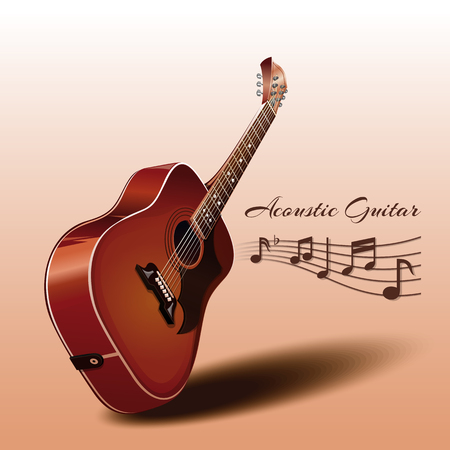 Wooden acoustic guitar and music notes. Musical instrument. Music concept design. Realistic vector illustration. Isolated on a beige background.