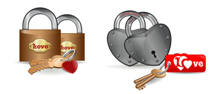 Couple of locks for lovers. Icon set - heart and lock. Heart shaped lock. Realistic vector illustration isolated on white background