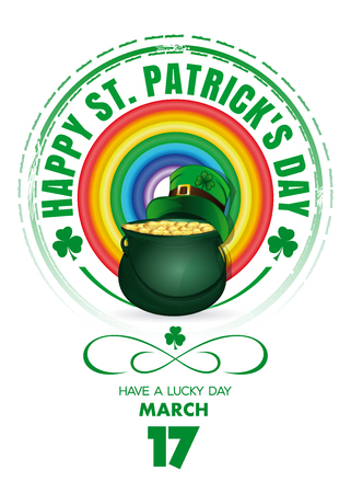 St. Patricks Day design with rainbow and a magic pot of gold. Happy St. Patrick's Day. Usable for banners, greeting cards, flyers and posters. Vector illustration