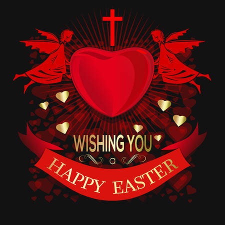 Angels  holding big red heart. Happy Easter  Greeting inscription on the background of red hearts. Vector illustration.