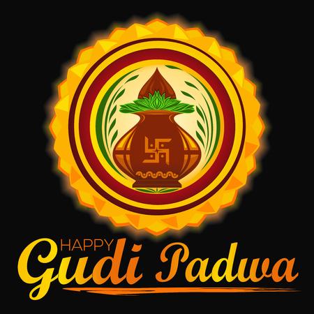 Happy Gudi Padwa, Hindu New Year, illustration for Ugadi Festival with Kalash, and rangoli on dark background. Illustration