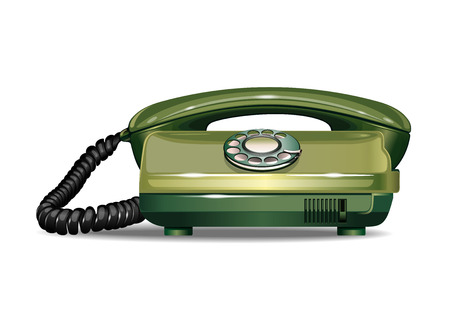 Vintage Disc Phone. Old green telephone 70-90s. Rotary dial telephone. Realistic vector illustration isolated on white background Illusztráció