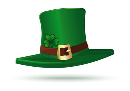 Cartoon leprechaun hat isolated on white background. Leprechaun hat icon. Green leprechaun hat with gold buckle and clover leaf. Vector illustration
