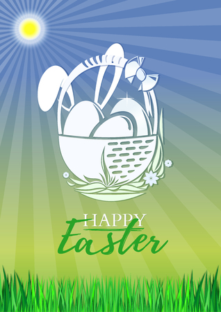 Celebratory design for Easter. Easter card with typographical background with Easter bunny and Easter eggs. Vector illustration