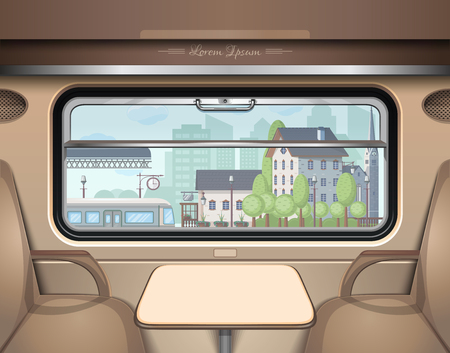 View of the railway station from the train window. Travel and transportation by train Vector illustration
