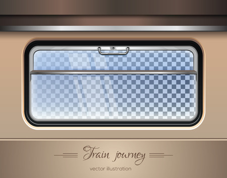 A Window of the train on a transparent background with the ability to change the landscape outside the window. Vector illustration Stock Illustratie
