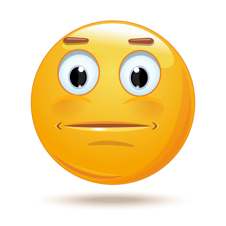 Indifferent cartoon icon. Neutral expressionless or surprised emoticon face. Neutral smiley mood. Vector illustration isolated on white background