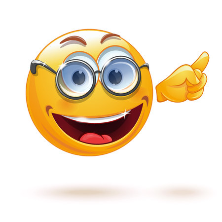 Smart smiley with glasses. Emoticon face points with his finger. Emoji professor. Indicative gesture. Cute smiling emoticon wearing eyeglasses. Vector illustration
