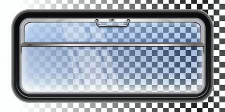 Train window isolated on a transparent background. View from the train window vector illustration. Illustration