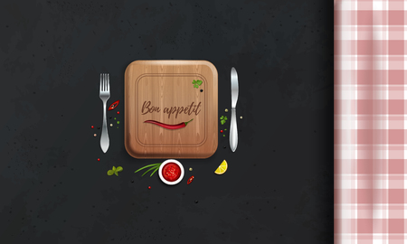 Table with a checkered tablecloth. Kitchen table. Table setting. Top view. Bon appetit lettering. Vector illustration