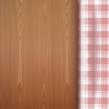 Checkered tablecloth on a wood background. Top view of a wooden table. Wooden table with red picnic tablecloth and copyspace. Realistic vector illustration Illustration